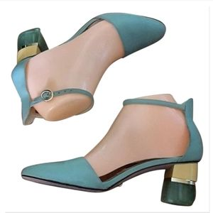 Charles & Keith Collection-Blue Teal Lucite Heels